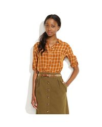 Madewell | Brown Silk Printmaker Shirt | Lyst