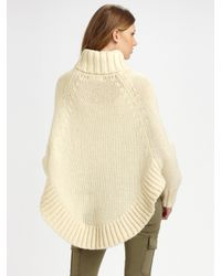 MICHAEL Michael Kors | Natural Alpaca Blend Turtleneck Poncho | Lyst