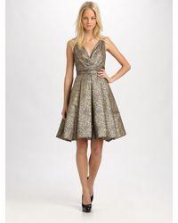 THEIA | Metallic Jacquard Dress | Lyst
