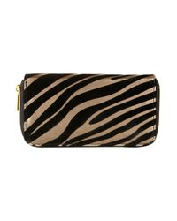 TOPSHOP | Black Zebra Patterned Zip Around Purse | Lyst