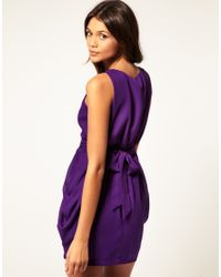 ASOS Collection - Purple Asos Tulip Dress with Tie Back - Lyst