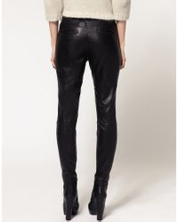 ASOS Collection - Black Asos Panel Zip Leather Skinny Trousers - Lyst