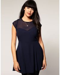 ASOS Collection - Blue Asos Curve Chiffon Dress with Mesh Neckline - Lyst