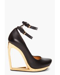 Lanvin | Black Escarpen Compense Heels | Lyst