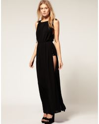 ASOS Collection | Black Asos Petite Exclusive Maxi Dress with Split Sides and Sequin Shorts | Lyst