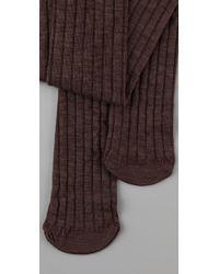 Club Monaco - Brown Wool Thigh High Socks - Lyst