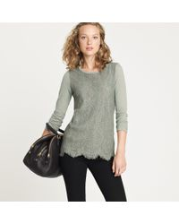 J.Crew | Green Crochet Lace-front Tee | Lyst
