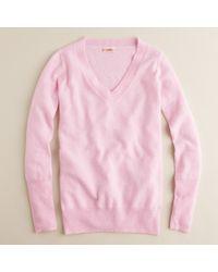 J.Crew | Pink Cashmere V-neck Sweater | Lyst