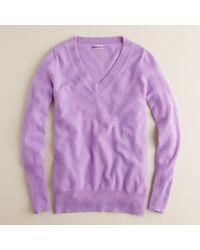 J.Crew | Purple Italian Cashmere V-neck Sweater | Lyst