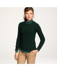 J.Crew | Green Honeycomb Cable Sweater | Lyst