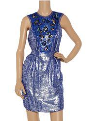 M Missoni | Blue Printed Stretch-jersey Maxi Dress | Lyst