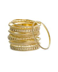 Cara | Metallic Metal & Crystal Bangles (set Of 15) | Lyst