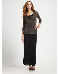 Eileen Fisher | Black Silk Georgette Skirt | Lyst