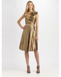 Teri Jon | Metallic Silk Dress | Lyst