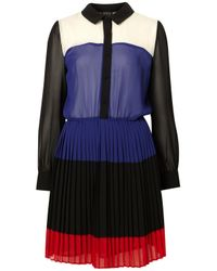 TOPSHOP | Multicolor Colour Block Shirtdress | Lyst