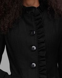 Tulle - Black Ruffle Front Coat - Lyst