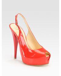 Giuseppe Zanotti | Pink Patent Leather Slingback Peep Toe Platform Pumps | Lyst