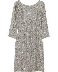 Alice + Olivia | Metallic Ritchie Embellished Blouson Dress | Lyst