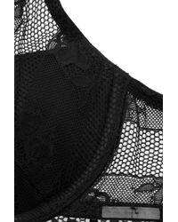 Calvin Klein - Black Lace Plunge Push-up Bra - Lyst