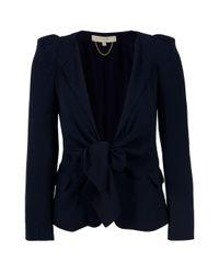 Vanessa Bruno | Blue Crepe Tie Front Jacket | Lyst