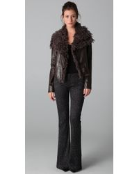 Georgie - Brown Faux Leather Mayra Jacket with Faux Fur Collar - Lyst