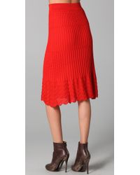 M Missoni - Red Solid Knit Skirt - Lyst