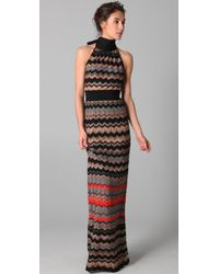 M Missoni | Black Zigzag Metallic Stripe Maxi Dress | Lyst