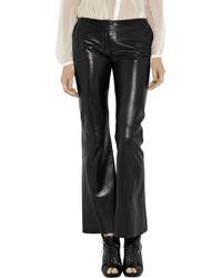 Alexander McQueen - Black Cropped Leather Bootcut Pants - Lyst