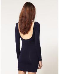 American Apparel - Blue Long Sleeved Mini Dress - Lyst