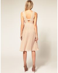 ASOS Collection - Natural Asos Petite Dress with Full Pleated Skirt and Sequin Embellishment - Lyst