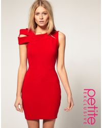 ASOS Collection | Red Asos Petite Exclusive Bodycon Dress with Shoulder Deatil | Lyst