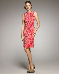 Carolina Herrera | Red Bubble-Print Silk Dress | Lyst