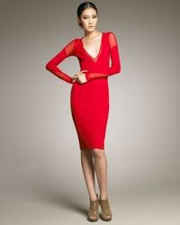 Donna Karan | Red Sheer-inset Dress | Lyst