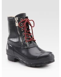 Hunter | Metallic Corwin Lace-up Leather & Rubber Duck Boots | Lyst