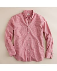 J.Crew | Red Secret Wash End-on-end Button-down Shirt in Microgingham for Men | Lyst