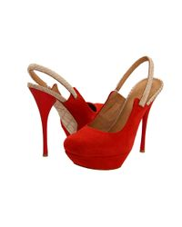 L.A.M.B. | Red Ariel Suede Sling Back Pumps | Lyst