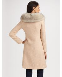 MILLY - Pink Katherine Fur Collar Coat - Lyst