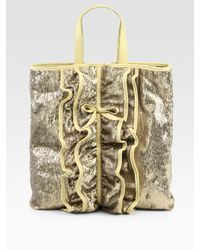 RED Valentino | Metallic Ruffle-front Sparkle Tote Bag | Lyst