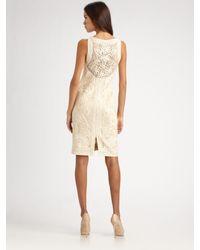 Sue Wong - Natural Soutache Lace Dress - Lyst