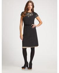 Tory Burch | Black Minnie Boiled-wool Dress | Lyst