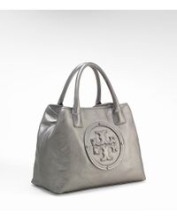 Tory Burch - Gray Stacked Logo Small Classic Tote - Lyst
