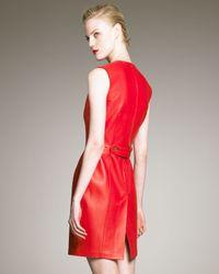 Saint Laurent - Red Leather Dress - Lyst