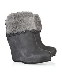 Ash | Gray Uranus Rabbit and Leather Ankle Boots | Lyst