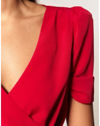 ASOS Collection | Red Asos Wrap Dress with Ruched Front | Lyst