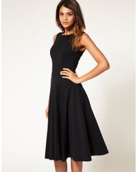 ASOS Collection   Black Asos Midi Fit & Flare Dress with Basqued Waist   Lyst
