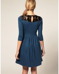 ASOS Collection - Blue Asos Dress with Button Front and Lace Insert - Lyst