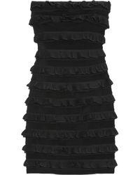 Elizabeth and James | Black Vivienne Silk Chiffon-ruffled Strapless Dress | Lyst