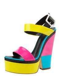 Giuseppe Zanotti | Multicolor Neon Colorblock Platform Sandal | Lyst
