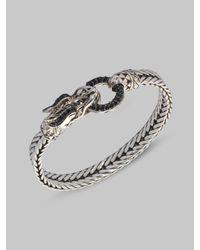 John Hardy | Metallic Naga Black Sapphire & Sterling Silver Dragon Head Bracelet | Lyst
