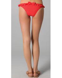Juicy Couture - Red Pretty Polka Ruffle Flirt Bikini Bottoms - Lyst